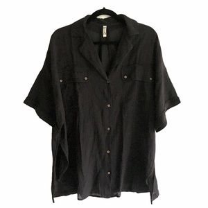 FREE PEOPLE Button Front Short Sleeve Blouse Black